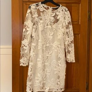 TopShop white lace long sleeve dress